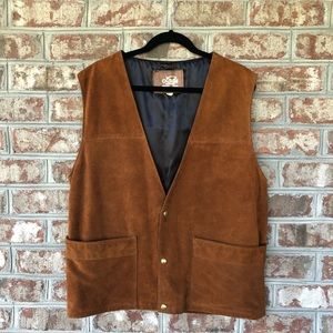 Lariat Heavy Western Suede Leather Vest Sz 12